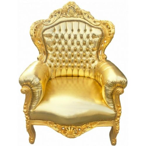 ARMCHAIR - BAROQUE STYLE ARMCHAIR GOLD/GOLD # F30MB150